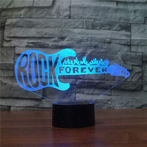3D Gitaar Nachtlampje Touch Tafel Bureaulampen 7 Kleurveranderende Illusielampjes Met Acryl Platte Abs Basis Usb Oplader Voor Kerstcadeau