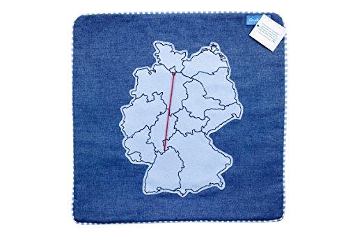 Ringelsuse - Kissenhülle Kissenbezug Kissen Geschenk Dekokissen Sofakissen Bettkissen Kopfkissen Fernbeziehung Wolle Größe ca. 38,5 x 38,5 cm aus Fair Trade Herstellung, blau rot