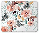 Floral Mouse Pad, Pastel Color Beauty Petals Leaves Shabby Essence of Nature Garden Bluebells Pattern, Standard Size Rectangle Non-Slip Rubber Mousepad, 9.8 X 11.8 Inch