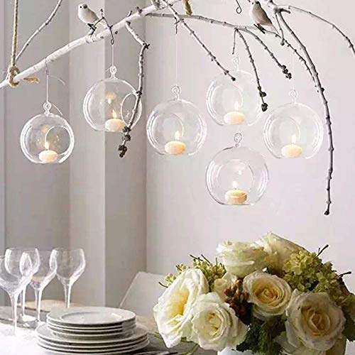 6X Hanging Glass Tealight Candle Holders, Romantic Decoration Candlelight Wedding Restaurant, Home Decoration Glass Ball, Festival / Birthday Decoration Crystal Candle Holders, Diameter 10cm