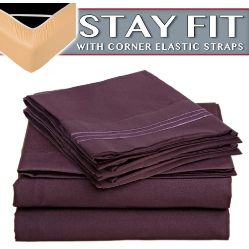 Clara Clark 2000 Series Bed Sheet Sets - Stay fit on mattress with elastic straps at corners - Queen, Purple Eggplant