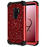 Hekodonk Compatible Galaxy S9 Plus Case,Stars Sparkle Glitter Shiny Heavy Duty Shockproof Full-Body Protective High Impact Armor Hybrid Cover for Samsung Galaxy S9 Plus-Bling Red