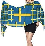 anemone store Schweden Flagge Frauen Winter Warmer Schal Mode Lange Große Weiche Kaschmirschal Wickelschals