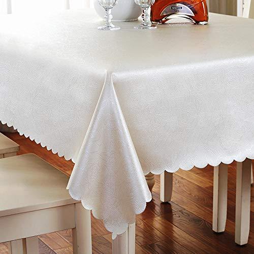 Yinaa Mantel Antimanchas Rectangular Impermeable Hogar PU Manteles para Mesas de Tela Blanco Plateado 100×100cm