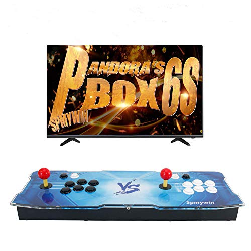 Spmywin 2400 HD Retro Arcade Game Console Pandoras Box 6S Arcade Machine Newest System Support Expand 2D Games 1080x720 Full HD Advanced CPU Mini Arcade Come with a 16G U Drive(Not Including Games)