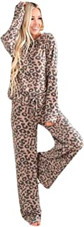 Kstare Women Homewear Winter Sweatsuit Active Leopard Print Pullover Pants Sets Casual Tracksuit Set Loungewear