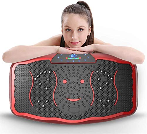 MHSHYSQ Vibration Trainer, Trainer Plate Platform Body Shaper Remote Control Household Weight Loss Whole Body Shaking Massager, Best Gift for Mom,Red