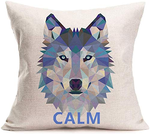 Bernice Winifred Wolf Head Throw Pillow CoversGeometric Mosaic Wolf Couch Pillow Covers Cotton Linen Pillowcase Cushion Cover Decor Home Bed Office  (Wolf 01)(20'x20')