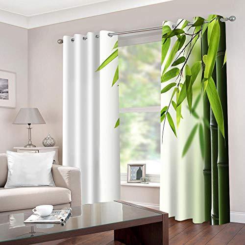 WAFJJ Gardinen Grün & Bambus Verdunkelungsvorhänge mit Ösen Gardinen Wärmeschutz & Geräuschreduzierung für Zimmer - Größe:2X B140 x H175cm
