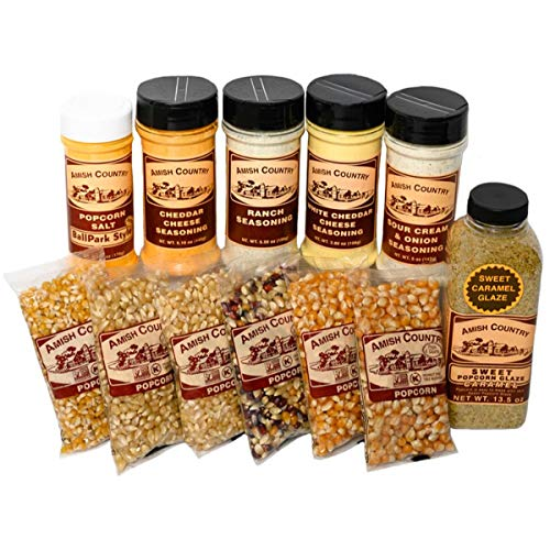Amish Country Popcorn   6 (4 Oz Variety Popping Gift Set with Toppings)   Old Fashioned with Recipe Guide