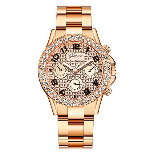 JZDH Relojes para Mujer Reloj para Mujer BDESIGNER Reloj de Cuarzo de Acero Inoxidable Rhinestone Vestido Casual Reloj de Pulsera Femenina de Cristal Relojes Decorativos Casuales para Niñas Damas