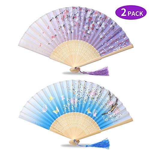 ONKING Japanischer Fächer für Damen Herren, Sehr Leise Klappfächer Handfächer für Hochzeit Grillen Reisen Camping[Schmetterling & Blütenkirsche] [Hellblau & Hellviolett]-2 Pack