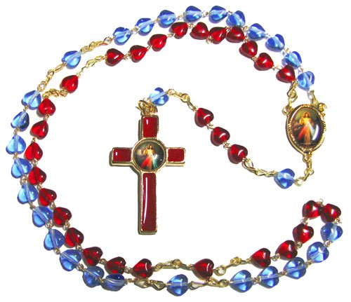 Divine Mercy Jesus red Blue Glass Heart Rosary Beads Catholic 44cm Gold Chain