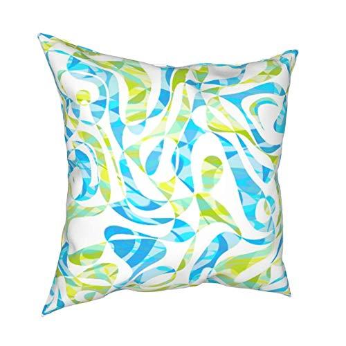 Funda de cojín decorativa para sofá, hogar, diseño de rayas, color verde lima, color turquesa