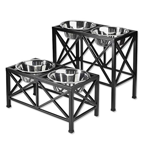 Orvis Classic Metal Raised Dog Feeder/Double Feeder, Black, Large
