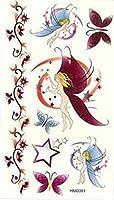 【タトゥーシール】【ボディーシール】☆妖精 蝶 星 ラメ入り HM0091かわいい かっこいい セクシー オシャレ ワンポイント 月 幻想550円→100円