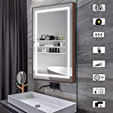 CITYMODA 28x20inch Bathroom Mirror with Lights Large Dimmable LED Makeup Vanity Brushed Metal Mirror with Lights Touch Button Horizontal/Vertical Anti-Fog