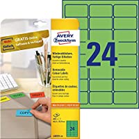 Avery Coloured Labels - Green (20 Sheets, 24 Per Sheet)