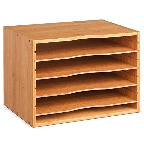 Dokumentenablage Bambus Schreibtisch Organizer für Büro Briefablage a4 Holz Desk Organizer Ablagefächer stapelbar 36x25x26cm