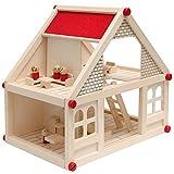 EYEPOWER Puppenhaus Holz mit Zubehör Möbeln Spielfiguren - tragbare Puppenstube 2 Etagen...