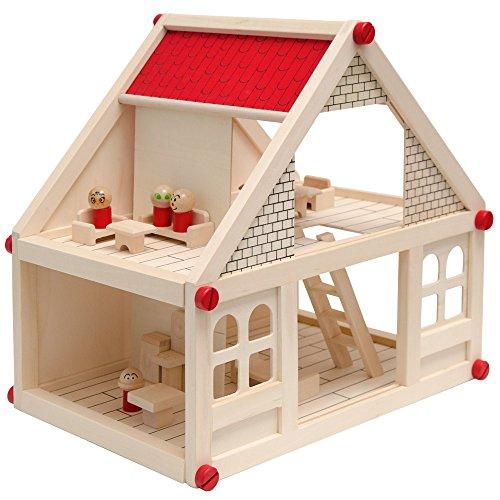 EYEPOWER Casa delle Bambole a Due Piani in Legno Naturale | incl. Mobili + 4 Personaggi | casetta in Miniatura | Facile da Montare