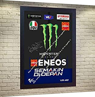S&E DESING New Valentino Rossi Signed Autographed Printed on Canvas 100% Cotton Framed