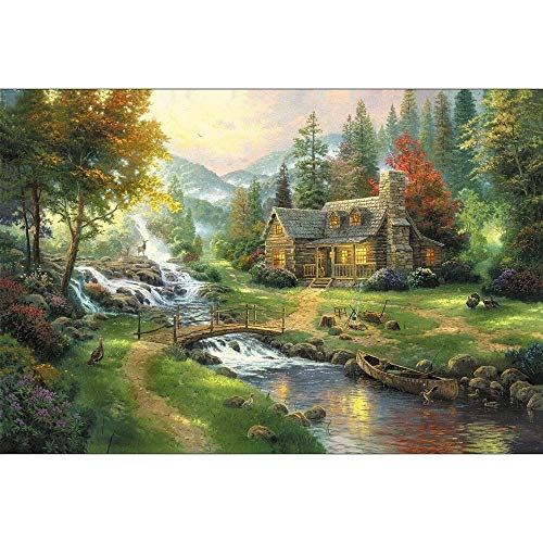 Painting Wooden Jigsaw Puzzle for Adults Kids 500/1000/1500/2000/3000/5000 Pieces - Norwegian Forest, DIY Home Decoration Art,Entertainment Toy, Relieve Stress Puzzles (Size : 5000P)