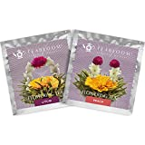 Blooming Tea Flowers - Litchi & Peach Flowering Teas – Hand-Tied Flowering Tea Balls - Each Tea Blossom Can Be Used Multiple Times (2-Pack)