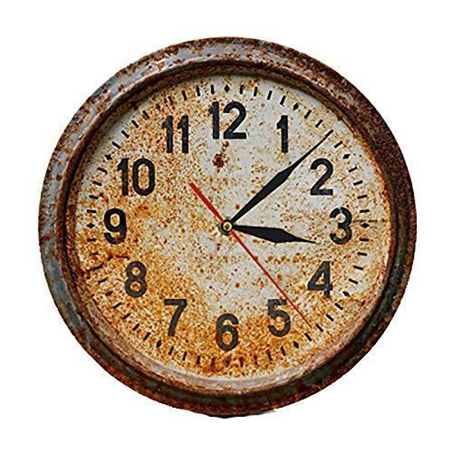 WRJ Gartenuhr,Outdoor Retro Nostalgie Wanduhr Vintage Garten Ornament Für Patio Hof Living Küchenuhr Gartenuhr Landhaus Thermometer Innen,1