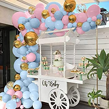 Blue and Pink Balloons 90pcs Gold Confetti & Gold Metallic Foil Balloons Garland Kit Macaron Latex Balloon for Birthday Baby Shower Gender Reveal Party Decorations
