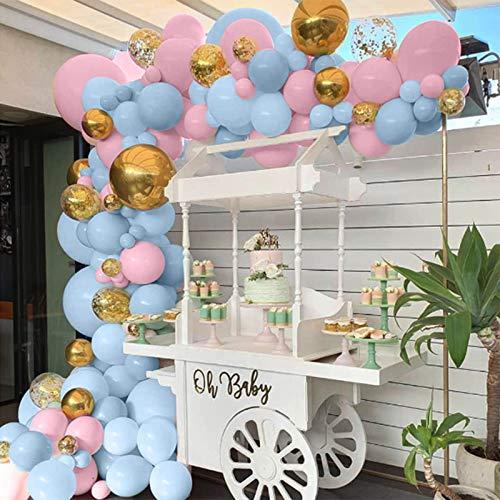 Kit de 90 globos azules y rosados, globos de confeti dorados, globos...