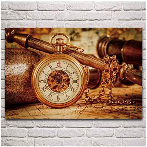Mural hermoso reloj Bokeh clásico tiempo de bolsillo abstracto sala de estar hogar pared arte decoración lienzo póster-24X32 en sin marco