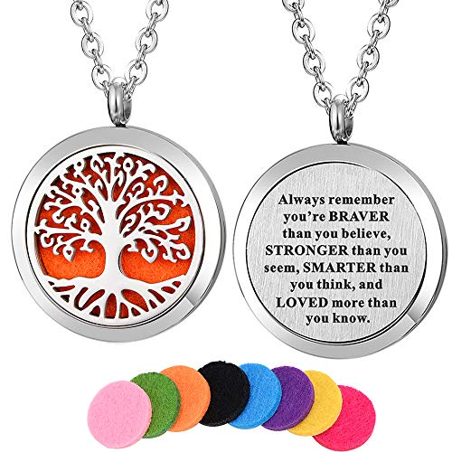 Kissreason Stainless Steel Aroma Pendant Aromatherapy Essential Oil Diffuser Necklace (Always Remember)