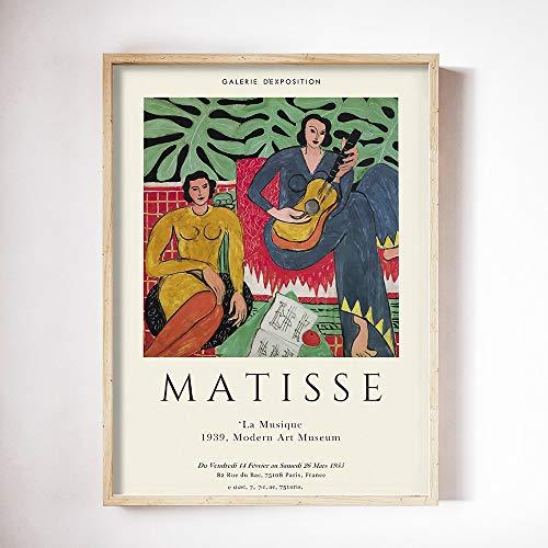 Henry Matisse arte pecera pintura cartel abstracto mujer cara pared famosa pintura moderna sin marco lienzo pintura D 50x70cm