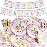 Yosemy Vajilla de Unicornio Cumpleaños 114pcs/16 Set Accesorio de Decoración de...