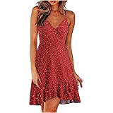 Women's Summer Deep V Neck Spaghetti Strap Ruffle Maxi Dress Polka Dot Printed Long Beach Wrap Dress Red