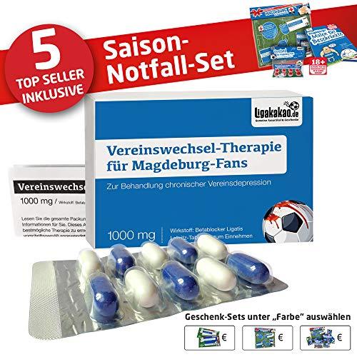 Alles für Magdeburg-Fans by Ligakakao.de Madgeburg Coffee to go-Becher ist jetzt das GROßE Saison Notfall Set Kaffee Becher Tasse Logo blau-weiß