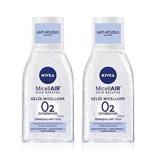 NIVEA MicellAIR SKIN BREATHE Gelée Micellaire (2 x 125 ml), démaquillant sans parfum pour tous types de peaux, nettoyant yeux enrichi en Acide Hyaluronique
