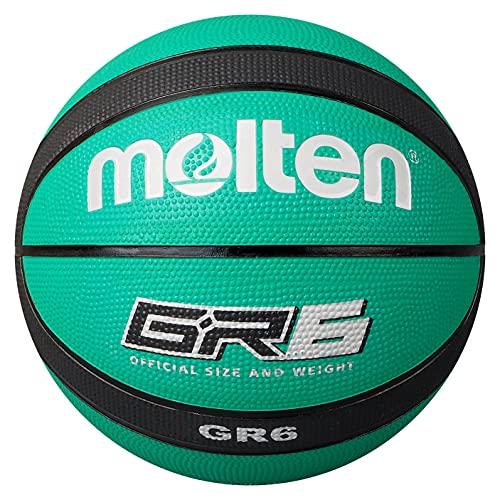 Molten GR Baloncesto, Interior/Exterior, Goma Premium, tamaño 6, Color de Impacto, Verde/Negro, Adecuado para niños de 12, 13, 14 años y niñas de 14 años y Adultos (BGR6-GK)