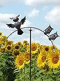Pommerntraum ® | ❤ Familie EULEN | Windspiel - Gartenpendel - Gartenstecker - Gartendeko - Garten Kunst - mit 2 Glaskugeln