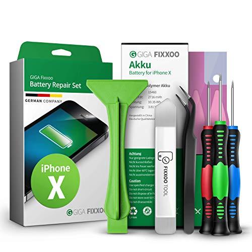 Giga Fixxoo Repuesto de Batería iPhone - Batería Akku Apto iPhone X - Kit Reparación Teléfonos Móviles con Batería Original de Iones de Litio, Herramientas, Destornillador, Pegatinas Adhesivas