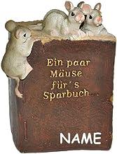 alles-meine.de GmbH EIN Paar Mäuse für´s Sparbuch  - Spardose - mit Namen - stabile Sparbüchse aus Kunstharz - Maus Geld S...