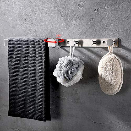 CCKOLE - Perchero con gancho para toallas, barra para toallas, acero inoxidable 304 cepillado, ganchos ajustables de rotación de 180 grados, soporte para toallas de baño, perforación (1)