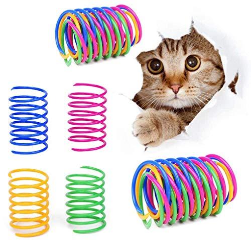 BTkviseQat Katze Spielzeug 16 Stücke, Katzenfeder, Cat Spring Spielzeug Bunte Spirale Katzen Spielzeug Kunststoff Spiralfedern für Katze Kätzchen Haustiere Neuheit Geschenk