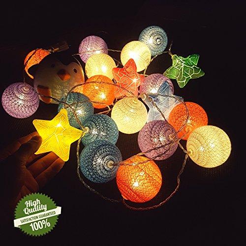 Guirlande Lumineuse, Chickwin Alimenté par Batterie Chaîne de Lumière 6cm Boules Coton LED Cosy Lumière Couleur Décoration Pour La Saint Valentin Noël Fêtes