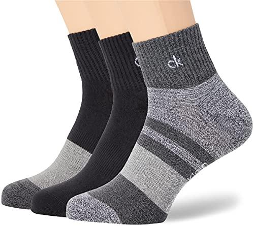 Calvin Klein Sustainable Flat Knit Men's Quarter Socks 3 Pack Quarto, Nero, Taglia Unica Uomo