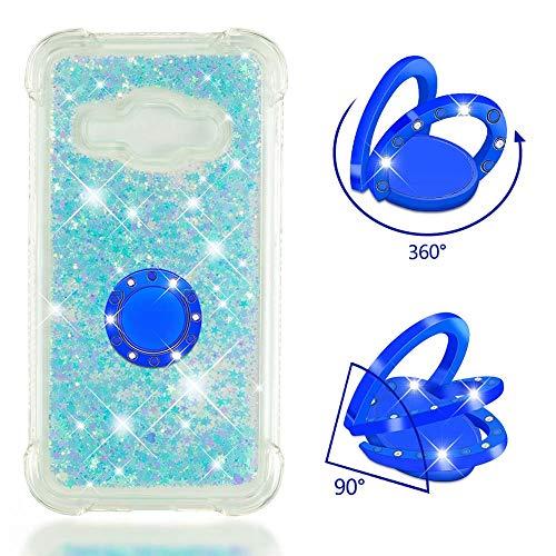 ZCXG Kompatibel Mit Handyhülle Samsung Galaxy J1 2016 Hülle Silikon Transparent Glitzer Liquid Hülle mit Ring Strass Diamant Slim Stoßfest Kratzfest Flexibles Schutzhülle Bumper Case,Blau Pentagramm