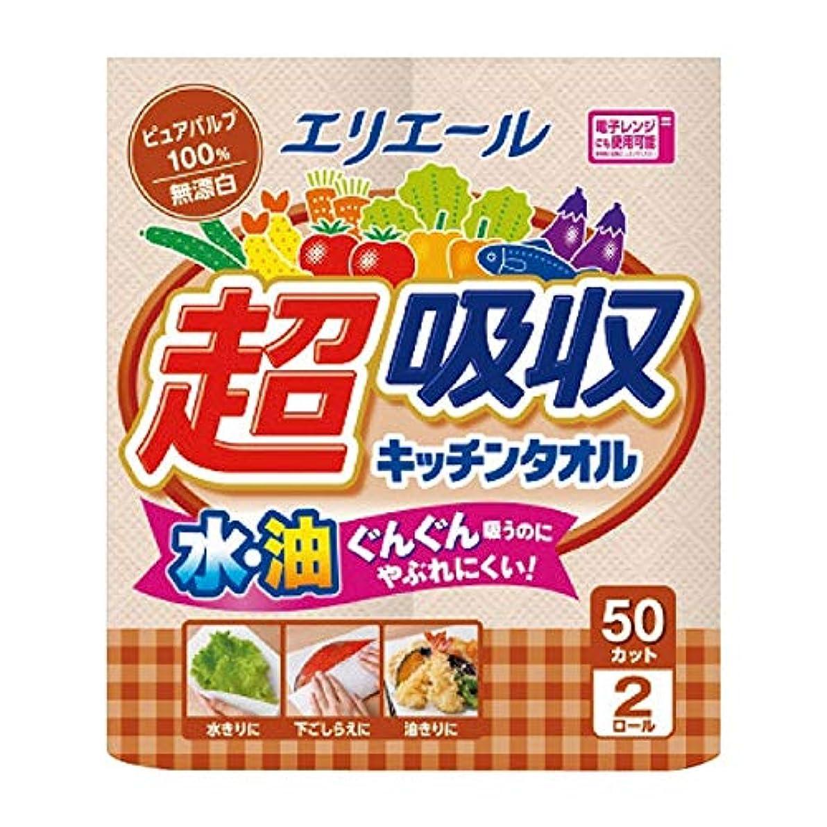 ワイド腸推測する大王製紙 エリエール 超吸収キッチンタオル 無漂白50カット 2ロール入X24P