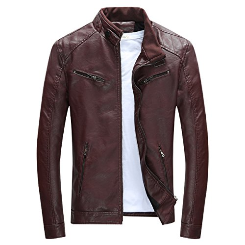 LISUEYNE Herren Lederjacke Mens PU Leder Jacken BiSHE Slim Smart Fit Fleece Harrington Jacke Mantel,Dunkelrot,S
