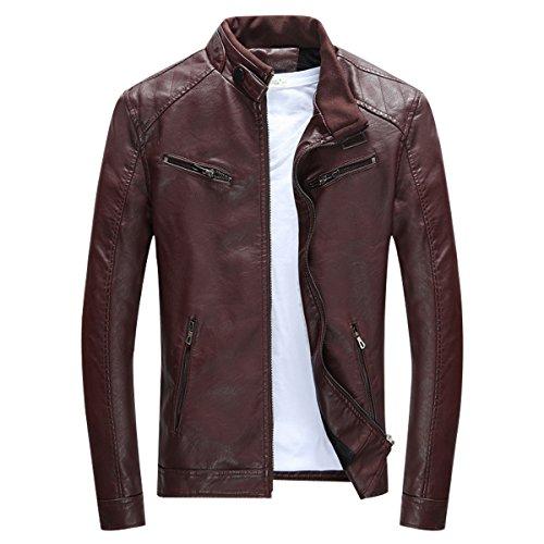 LISUEYNE Herren Lederjacke Mens PU Leder Jacken BiSHE Slim Smart Fit Fleece Harrington Jacke Mantel,Dunkelrot,L